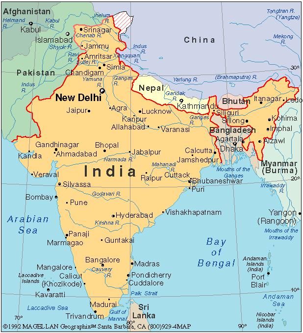 Inde carte géographique » Vacances   Arts  Guides Voyages